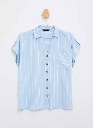 DeFacto Çizgili Kısa Kollu Gömlek Mavi